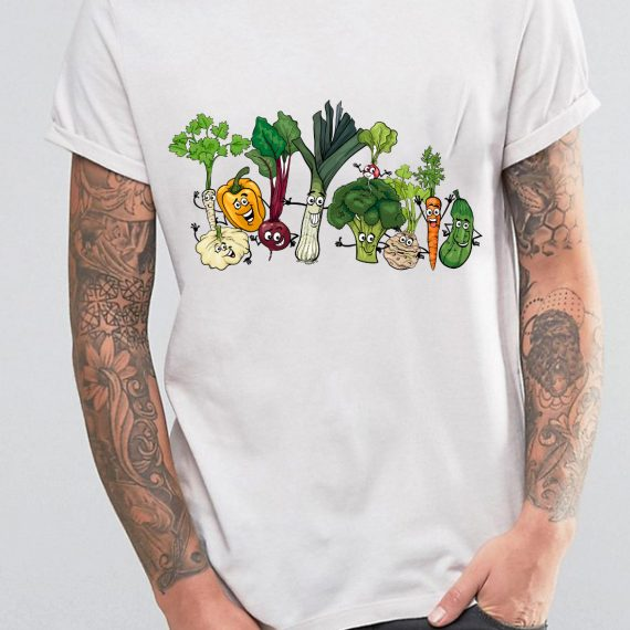 Happy Vegetables Tricou Alb Barbat