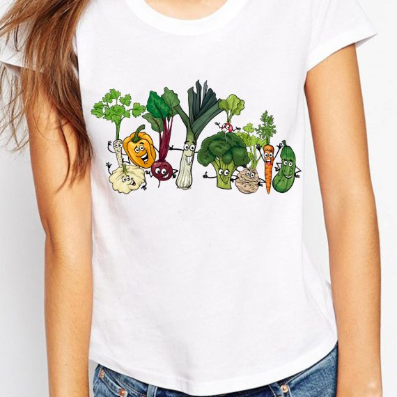 Happy Vegetables Tricou Alb Femeie