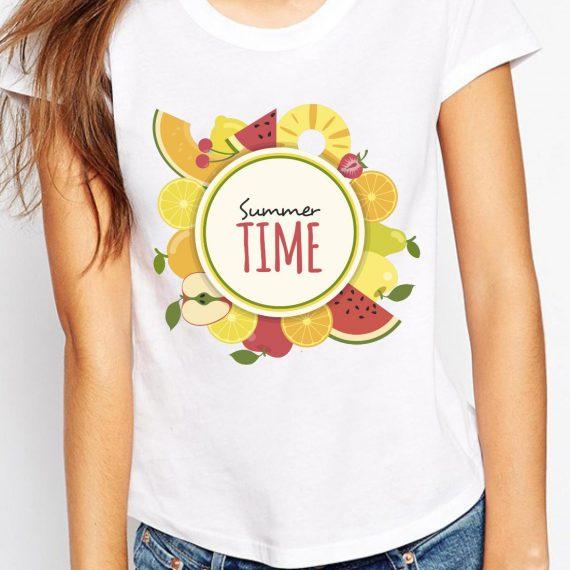 Summer Time Tricou Alb Femeie