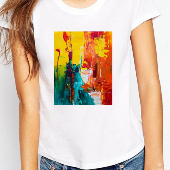Abstract Expressionism Tricou Alb Femeie