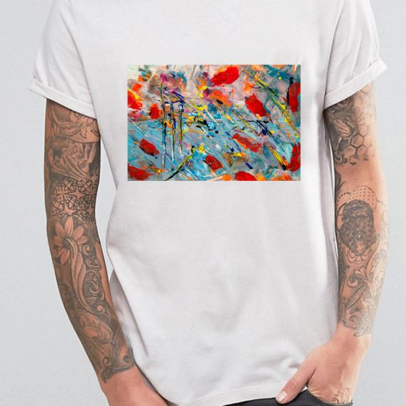 Abstract Painting Tricou Alb Barbat