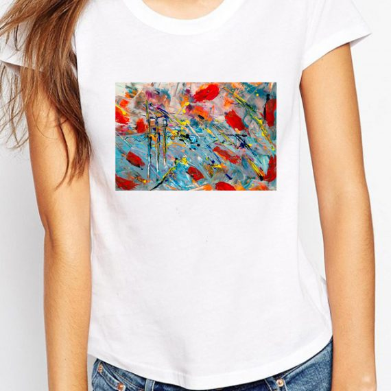 Abstract Painting Tricou Alb Femeie