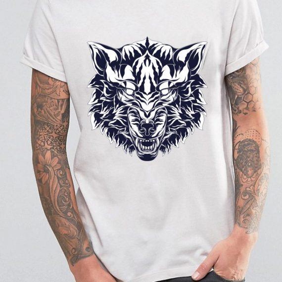 Angry Wolf Tricou Alb Barbat