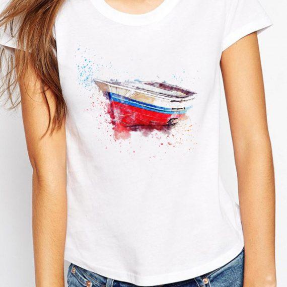 Art Boat Tricou Alb Femeie