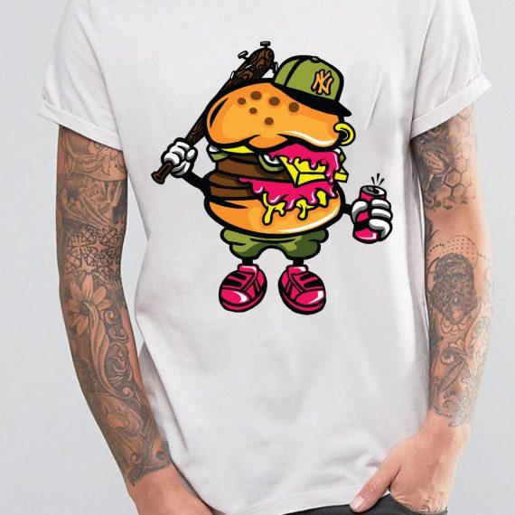 Burger Bastard Tricou Alb Barbat