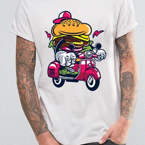 Burger Scooter Tricou Alb Barbat