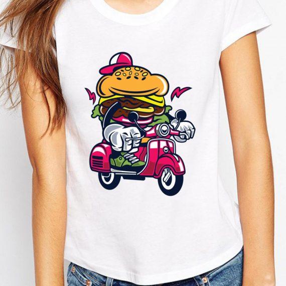 Burger Scooter Tricou Alb Femeie