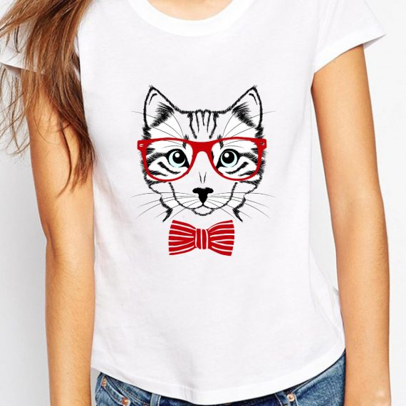 Cat With Glasses Tricou Alb Femeie
