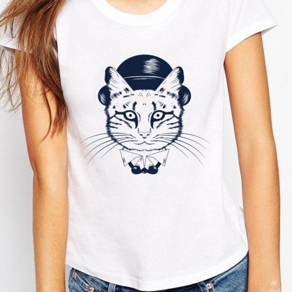 Cat With Hat Tricou Alb Femeie