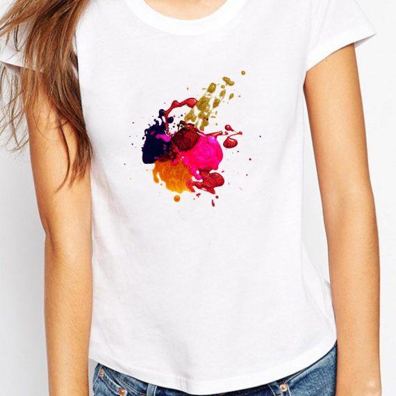 Colorful Art Tricou Alb Femeie