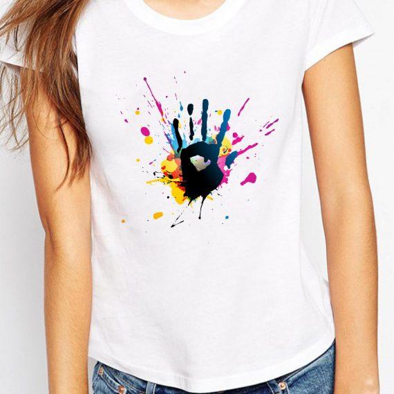 Coloured Hand Tricou Alb Femeie