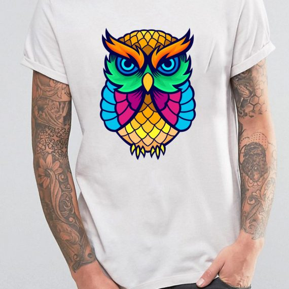 Coloured Owl Tricou Alb Barbat