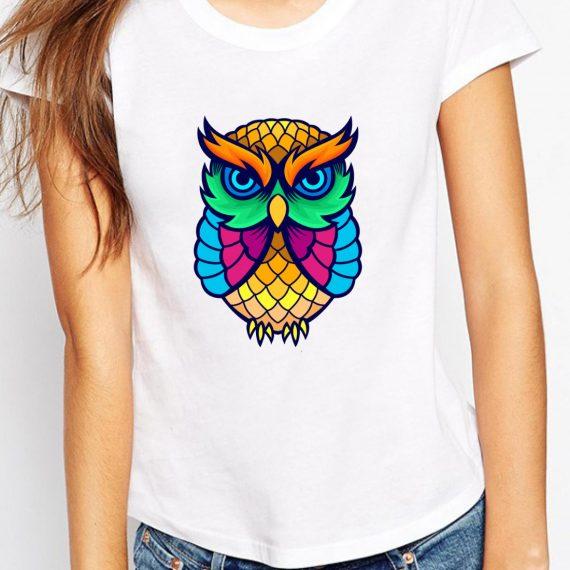 Coloured Owl Tricou Alb Femeie