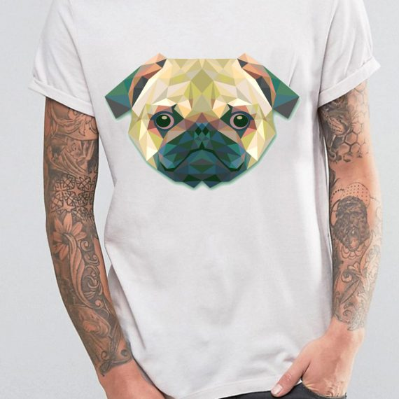 Coloured Pug Tricou Alb Barbat