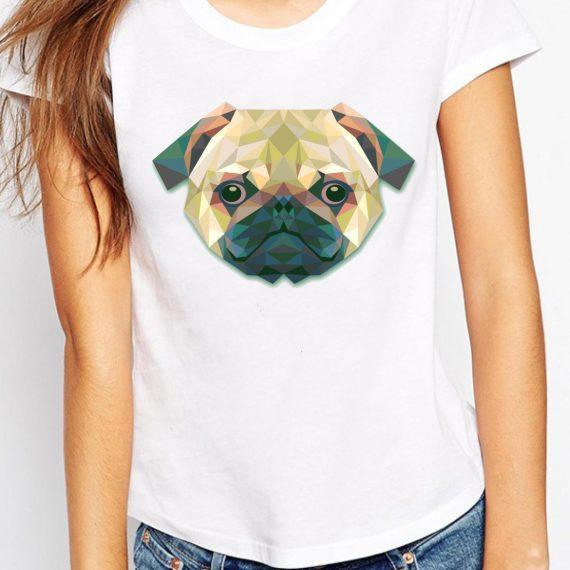 Coloured Pug Tricou Alb Femeie