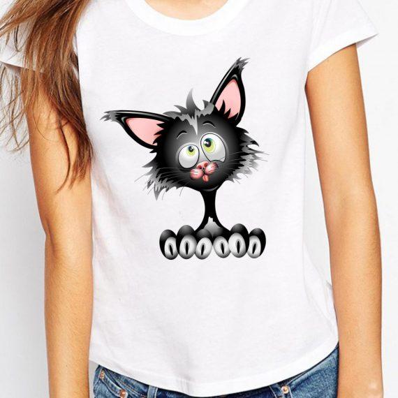 Crazy Cat Tricou Alb Femeie
