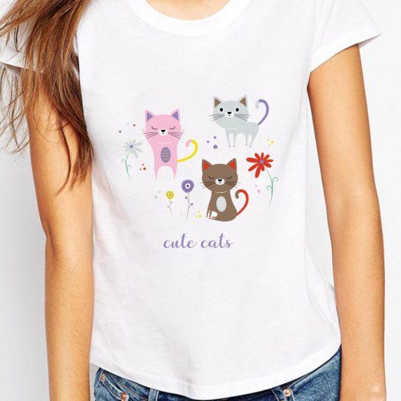 Cute Cats Tricou Alb Femeie