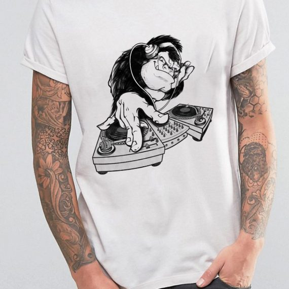 DJ Monkey Tricou Alb Barbat