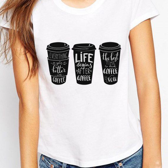 Drink Coffee Tricou Alb Femeie