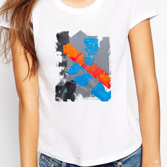 Easy Abstract Tricou Alb Femeie
