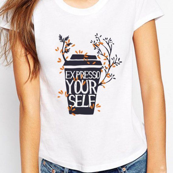 Expresso Yourself Tricou Alb Femeie