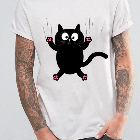 Funny Cat Tricou Alb Barbat