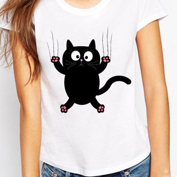 Funny Cat Tricou Alb Femeie