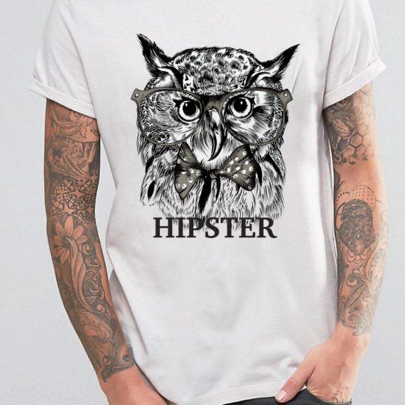 Hipster Tricou Alb Barbat