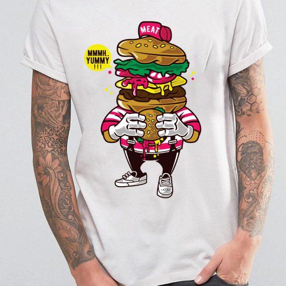 I Love Burger Tricou Alb Barbat