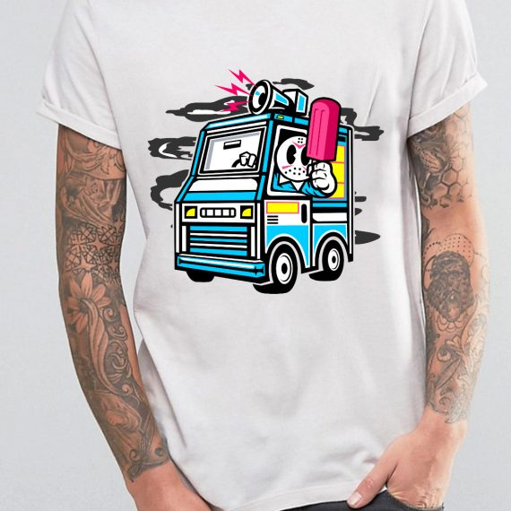 Ice Cream Truck Tricou Alb Barbat