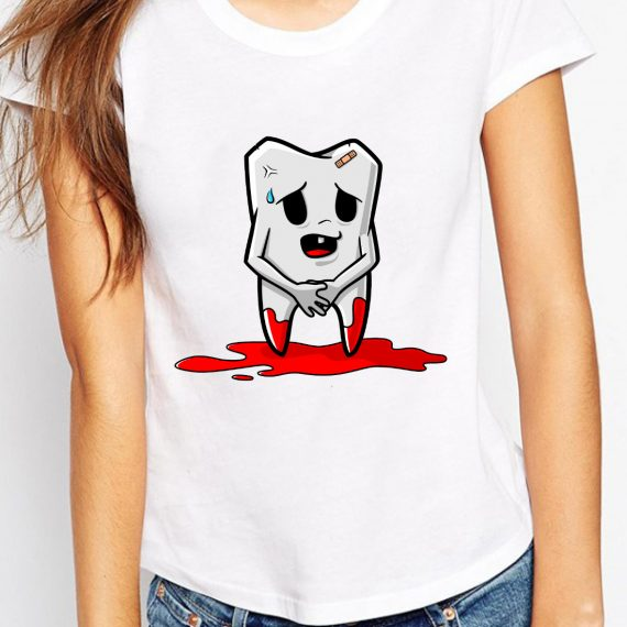 Injured Tooth Tricou Alb Femeie