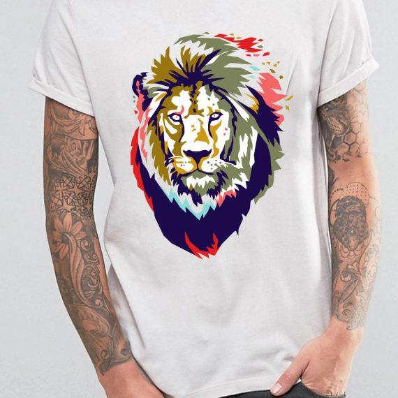 King Lion Tricou Alb Barbat