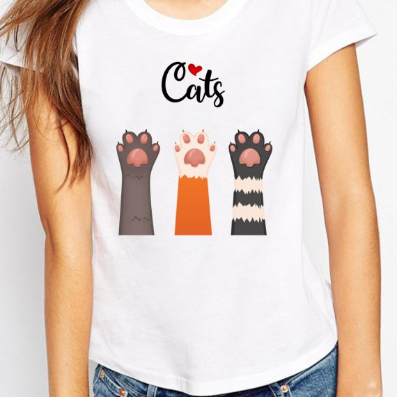 Love Cats Tricou Alb Femeie