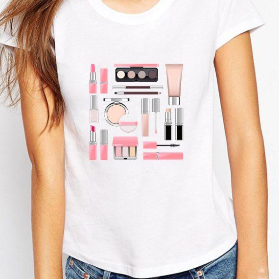MakeUp Kit Tricou Alb Femeie