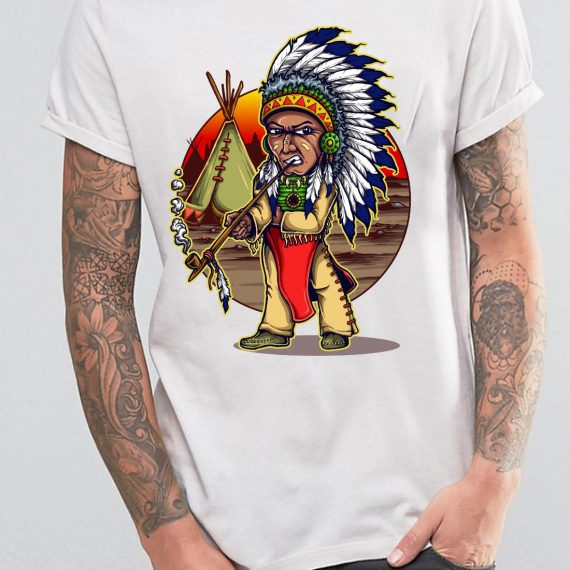 Native Chieftain Tricou Alb Barbat