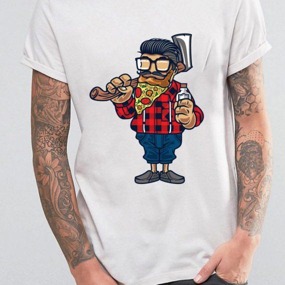 Pizza Beard Tricou Alb Barbat