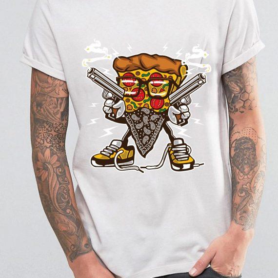 Pizza Gangster Tricou Alb Barbat