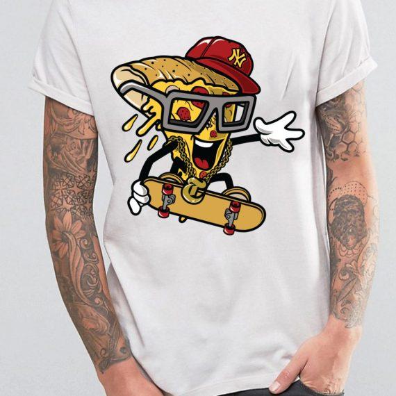 Pizza Skater Tricou Alb Barbat