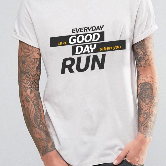 Running Day Tricou Alb Barbat