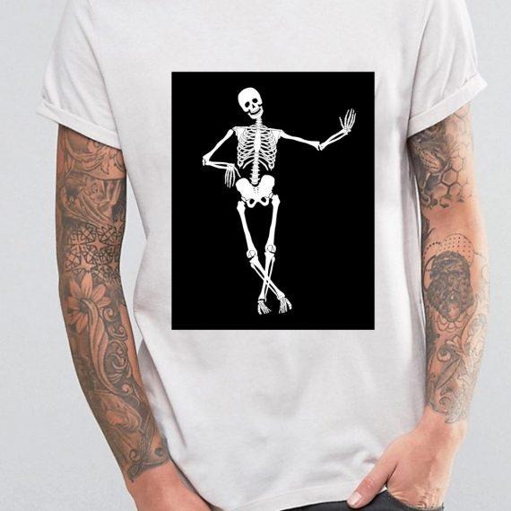 Skeleton Tricou Alb Barbat