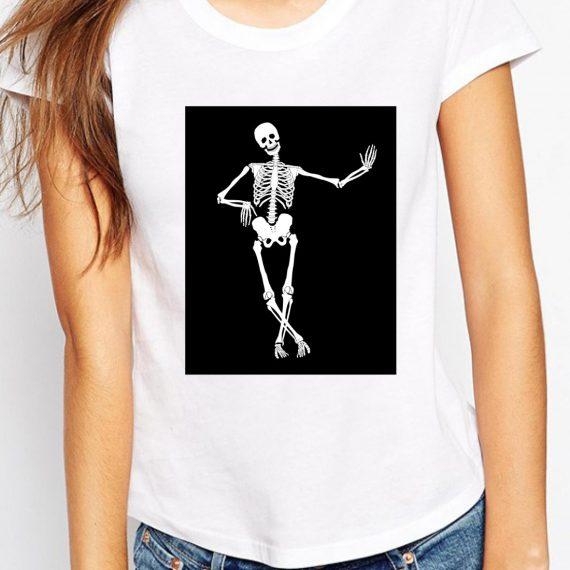 Skeleton Tricou Alb Femeie