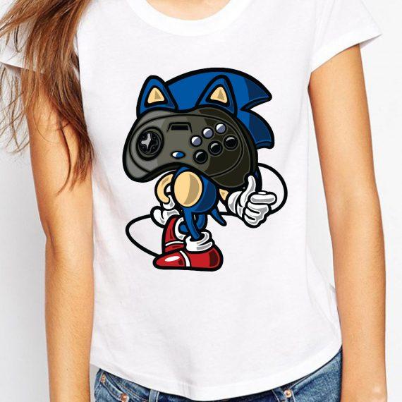 Sonic Player Tricou Alb Femeie