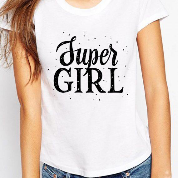 Super Girl Tricou Alb Femeie