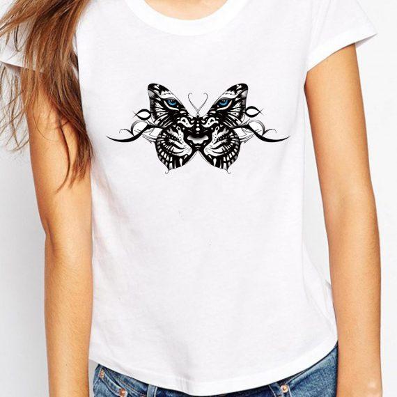Tiger Butterfly Tricou Alb Femeie