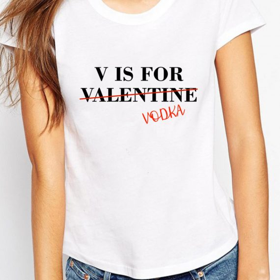 Valentine Vodka Tricou Alb Femeie