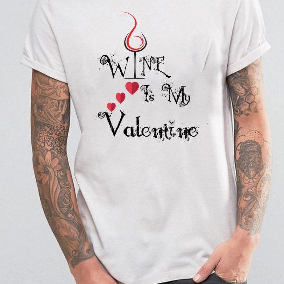Valentine Wine Tricou Alb Barbat