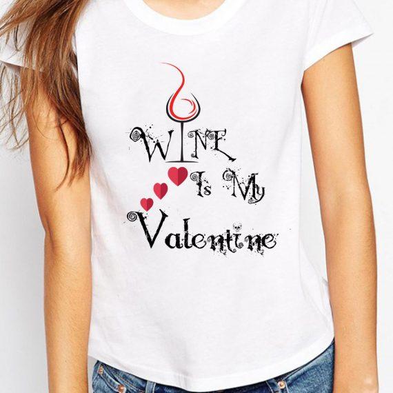 Valentine Wine Tricou Alb Femeie