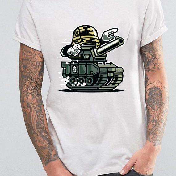 War Tank Tricou Alb Barbat