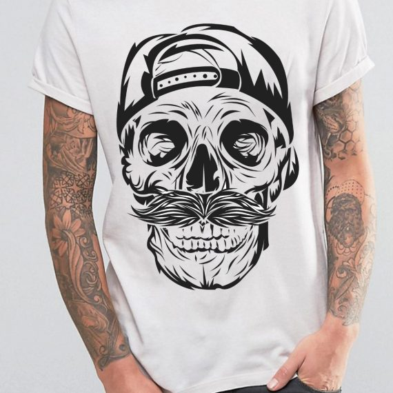 barbat-skull-negru-simplu