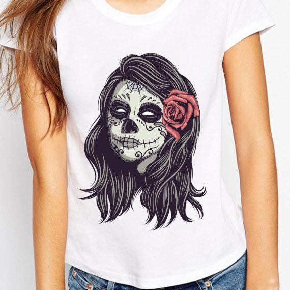 femeie-skull-trandafir